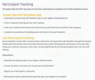 Queen Bee Half Marathon Offers Two Forms of Participant Tracking